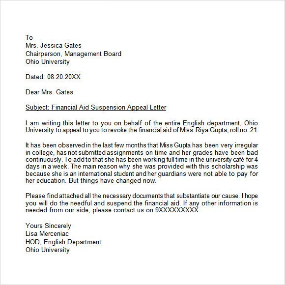 Sample Appeal Letter format Appeal Letter 12 Free Samples Examples format