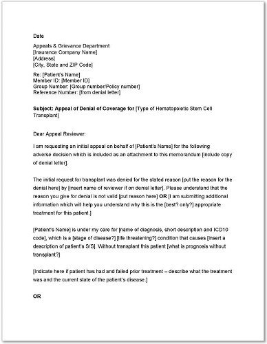 Sample Appeal Letter format Standard Medicare Appeal Letter Templates