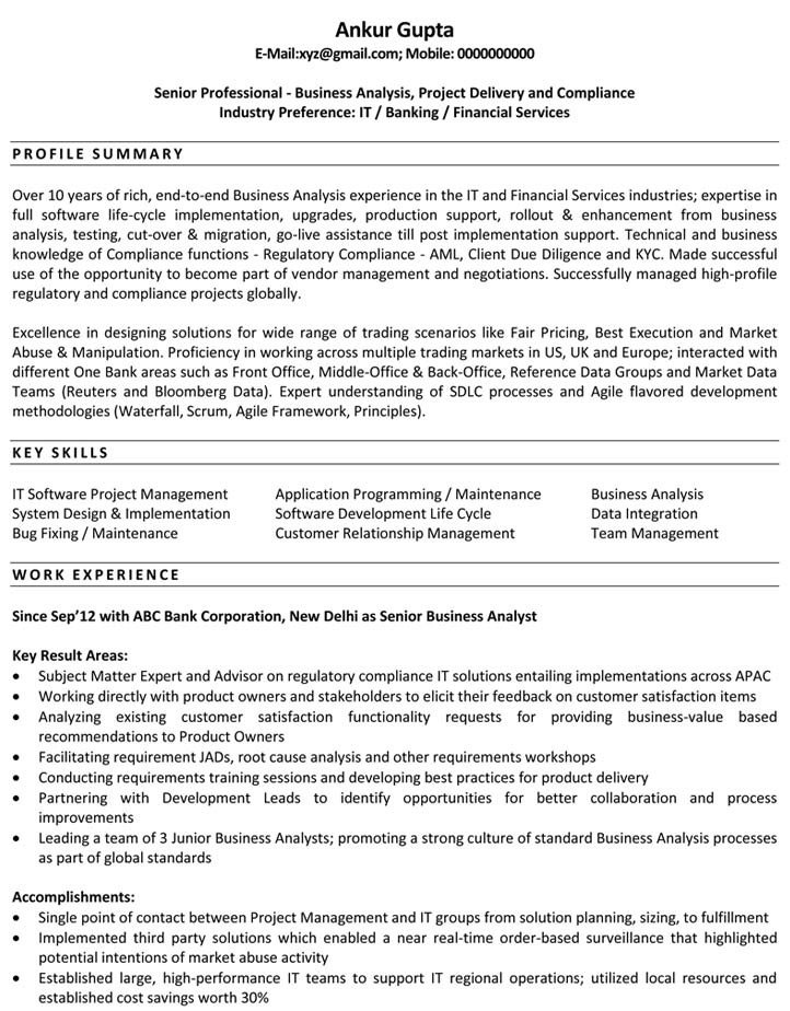 Sample Business Analyst Resume 25 Best Professional Resume Examples for Your Next Job