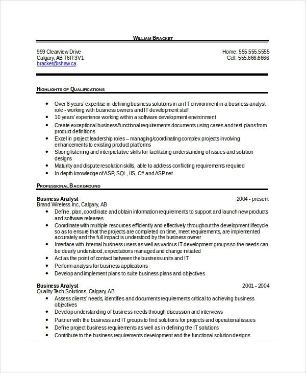 Sample Business Analyst Resume 28 Free Resume Templates Pdf Doc