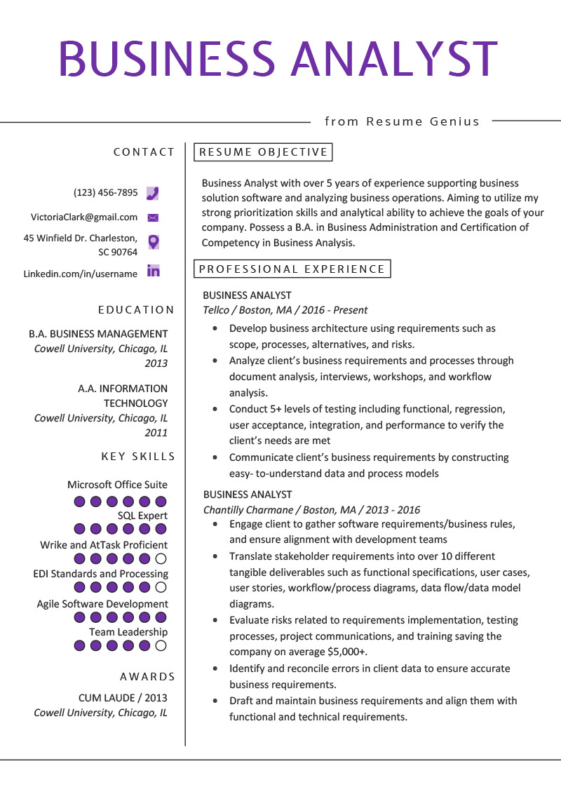 Sample Business Analyst Resume Business Analyst Resume Example & Writing Guide
