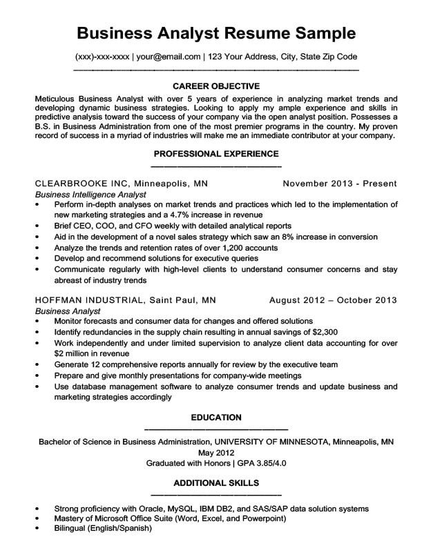 Sample Business Analyst Resume Business Analyst Resume Sample & Writing Tips