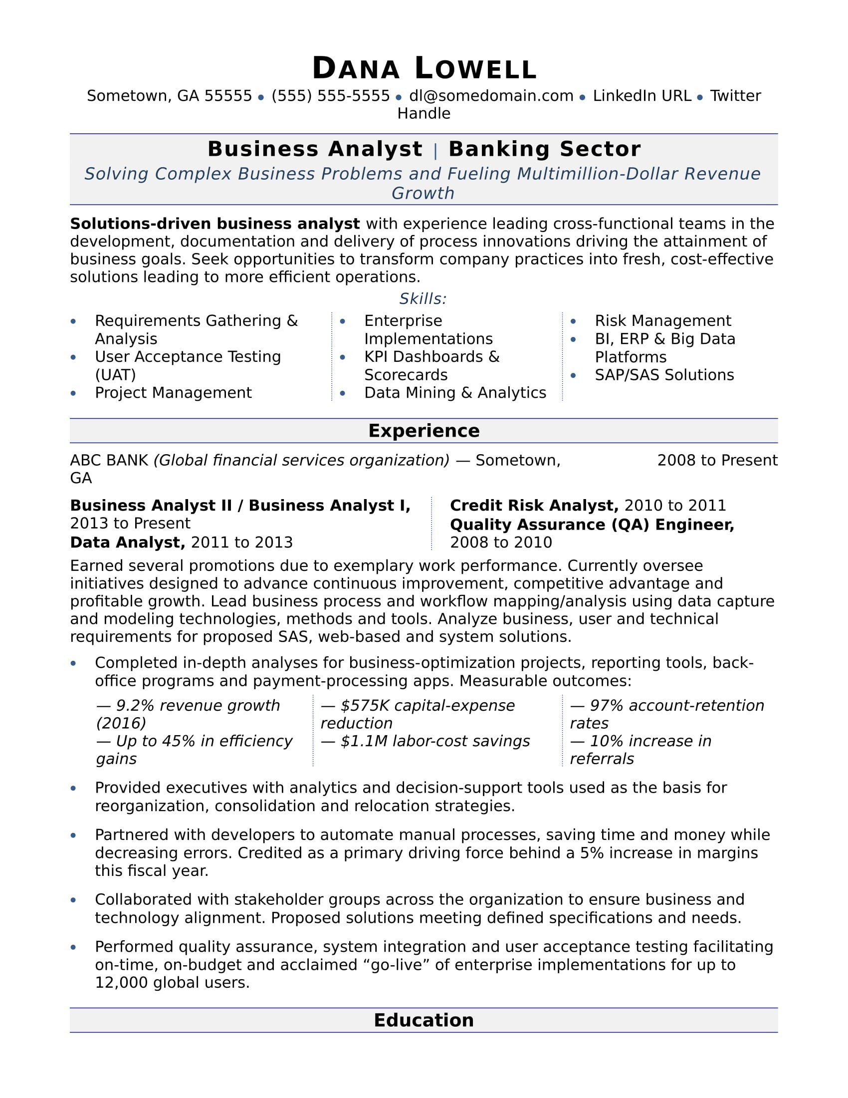 Sample Business Analyst Resume Business Analyst Resume Sample