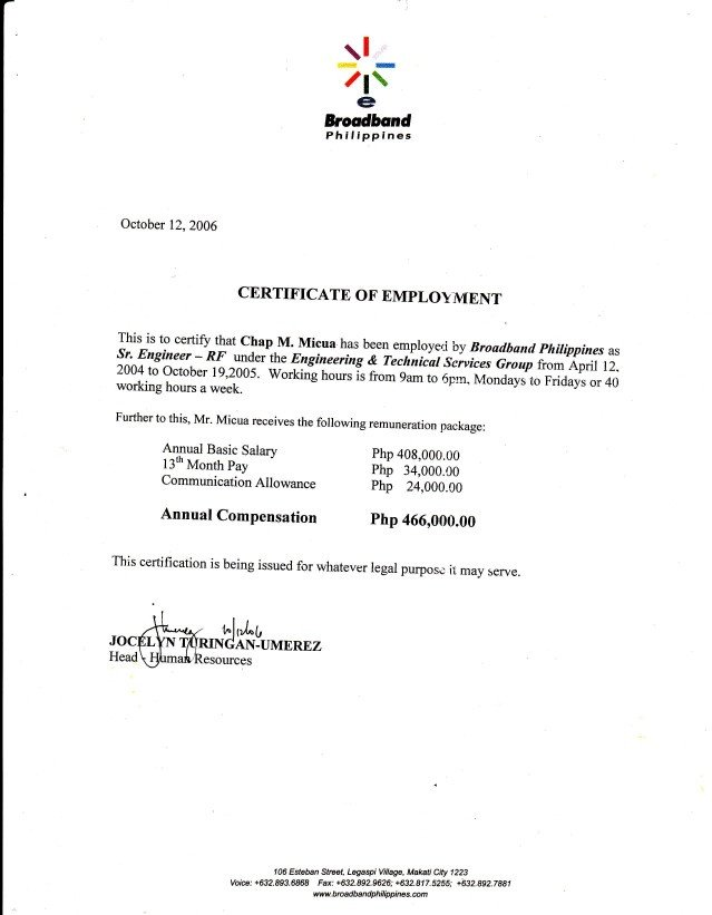 Sample Certificate Of Employment 06 Broadband Philippines Coe3