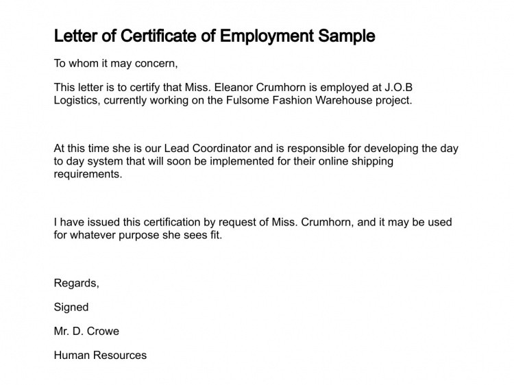 Sample Certificate Of Employment Certificate Employment Currently Employed