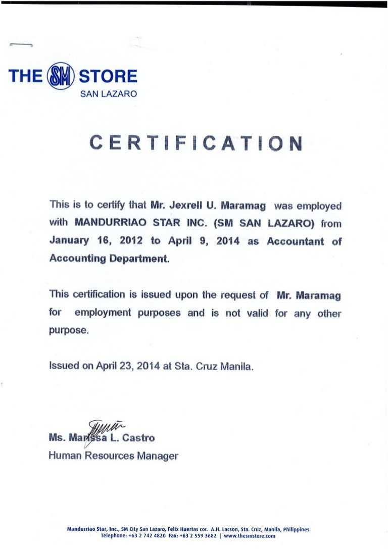 Sample Certificate Of Employment Certificate Of Employment Msi Sm Dep Store