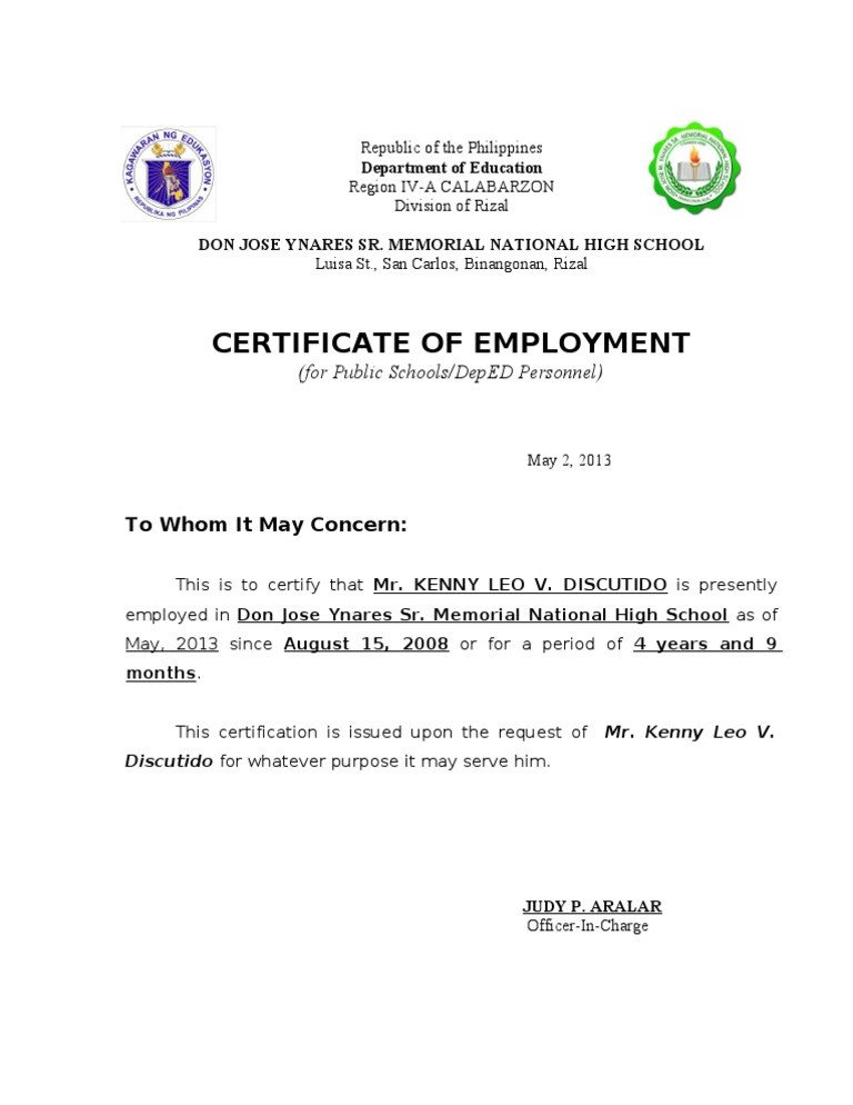 Sample Certificate Of Employment Certificate Of Employment