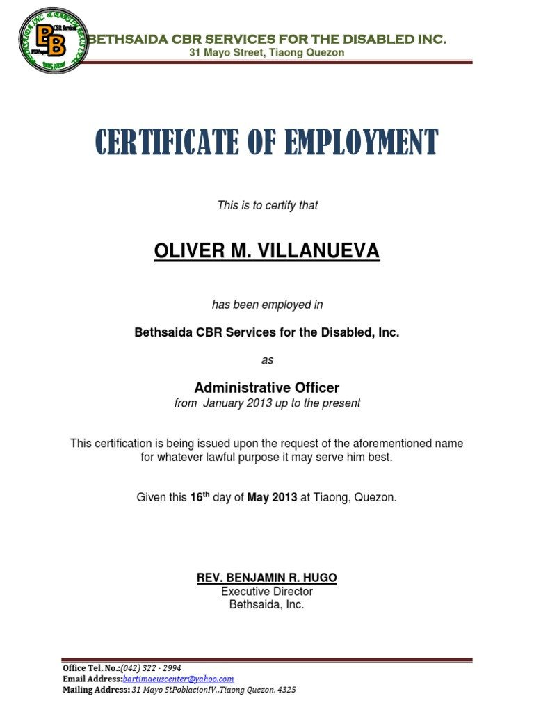 Sample Certificate Of Employment Certificate Of Employment Samplecx