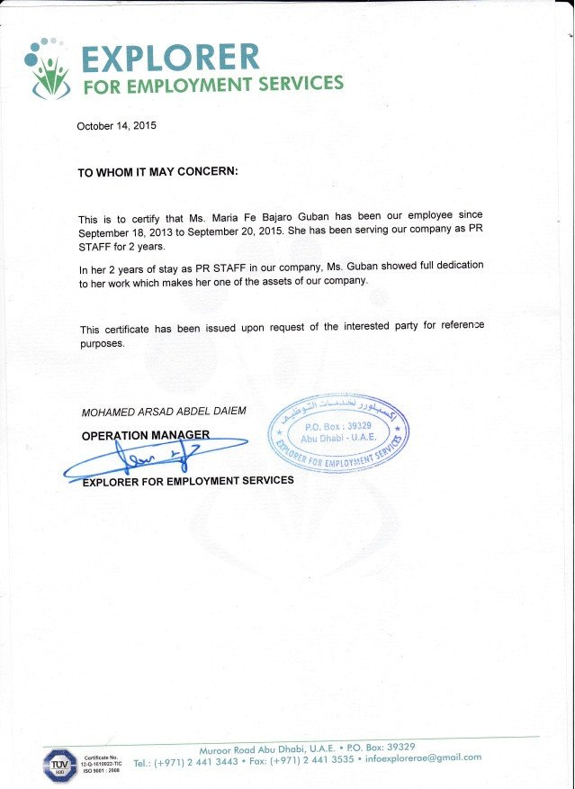 Sample Certificate Of Employment Explorer Employment Certificate