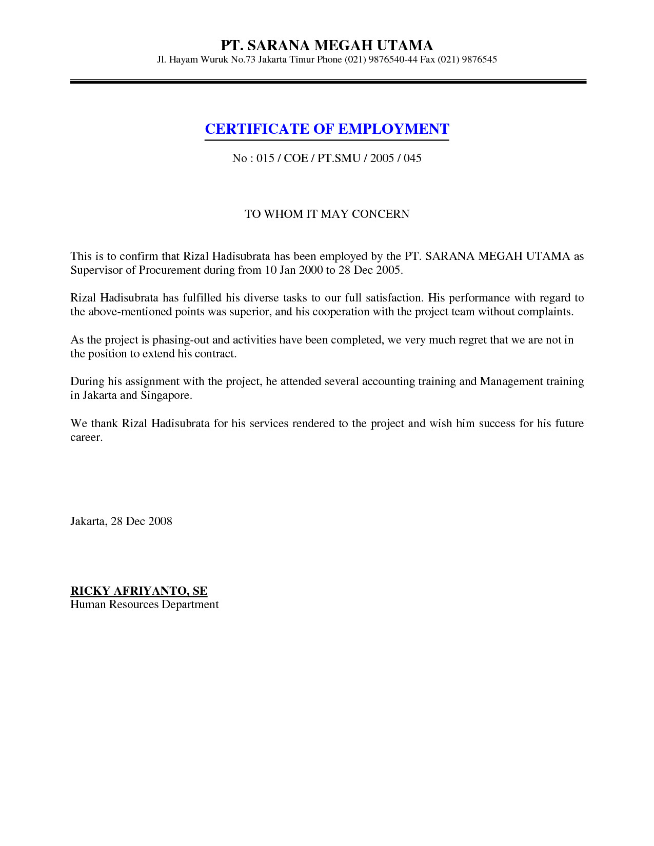Sample Certificate Of Employment Job Employment Certificate Sample Certification Letter