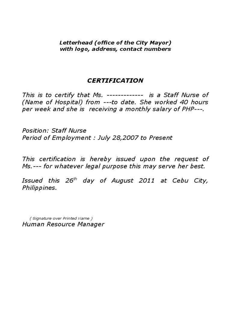 Sample Certificate Of Employment Sample Certificate Of Employment