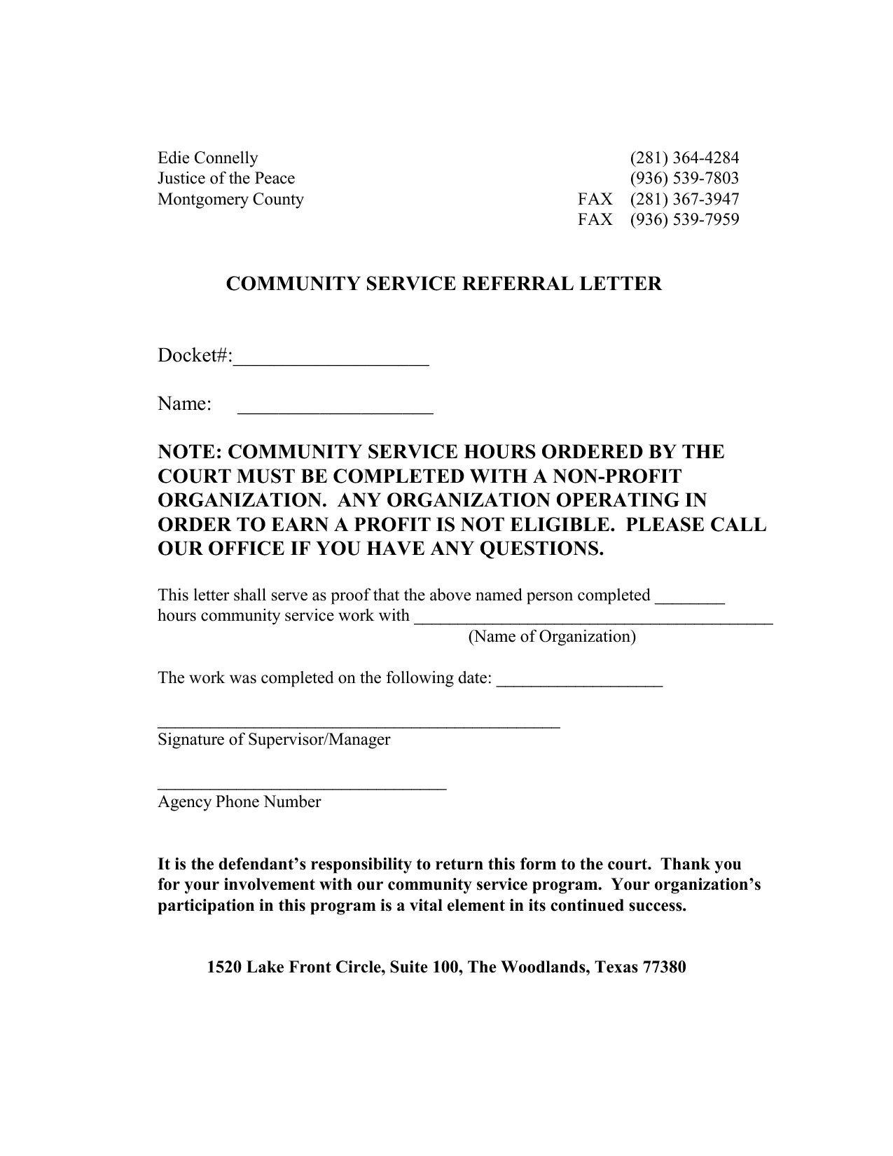 Sample Community Service Letter Munity Service Letter