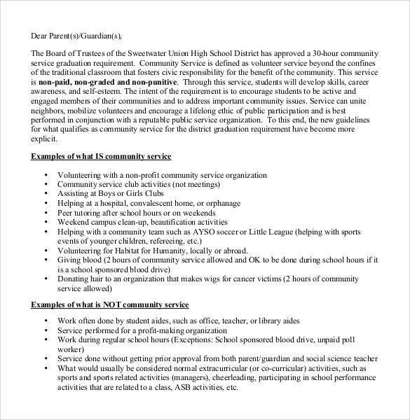 Sample Community Service Letter Sample Munity Service Letter 25 Download Free