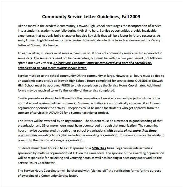 Sample Community Service Letter Sample Munity Service Letter 7 Download Free