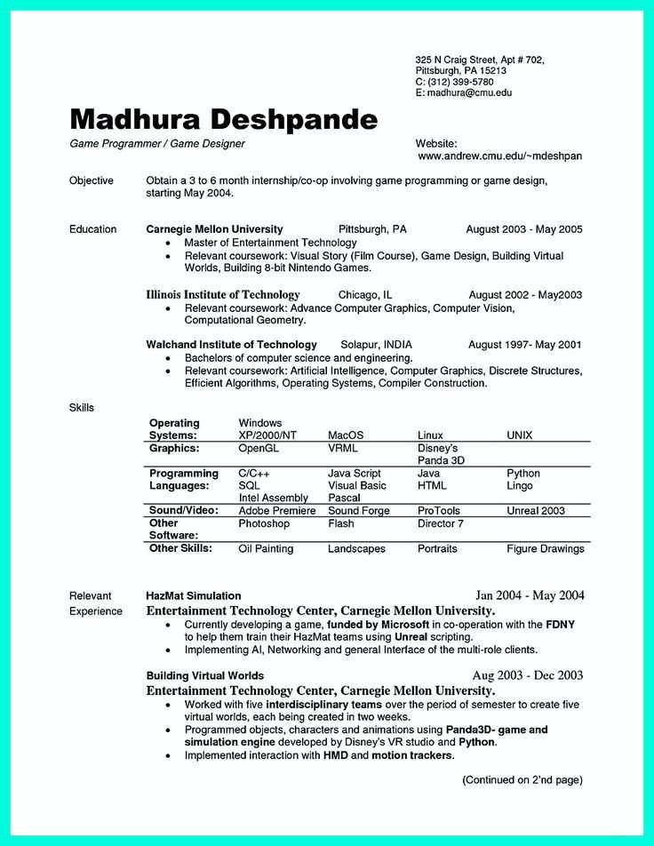 Sample Computer Science Resume 100 Ideas to Try About Resume Sample Template and format