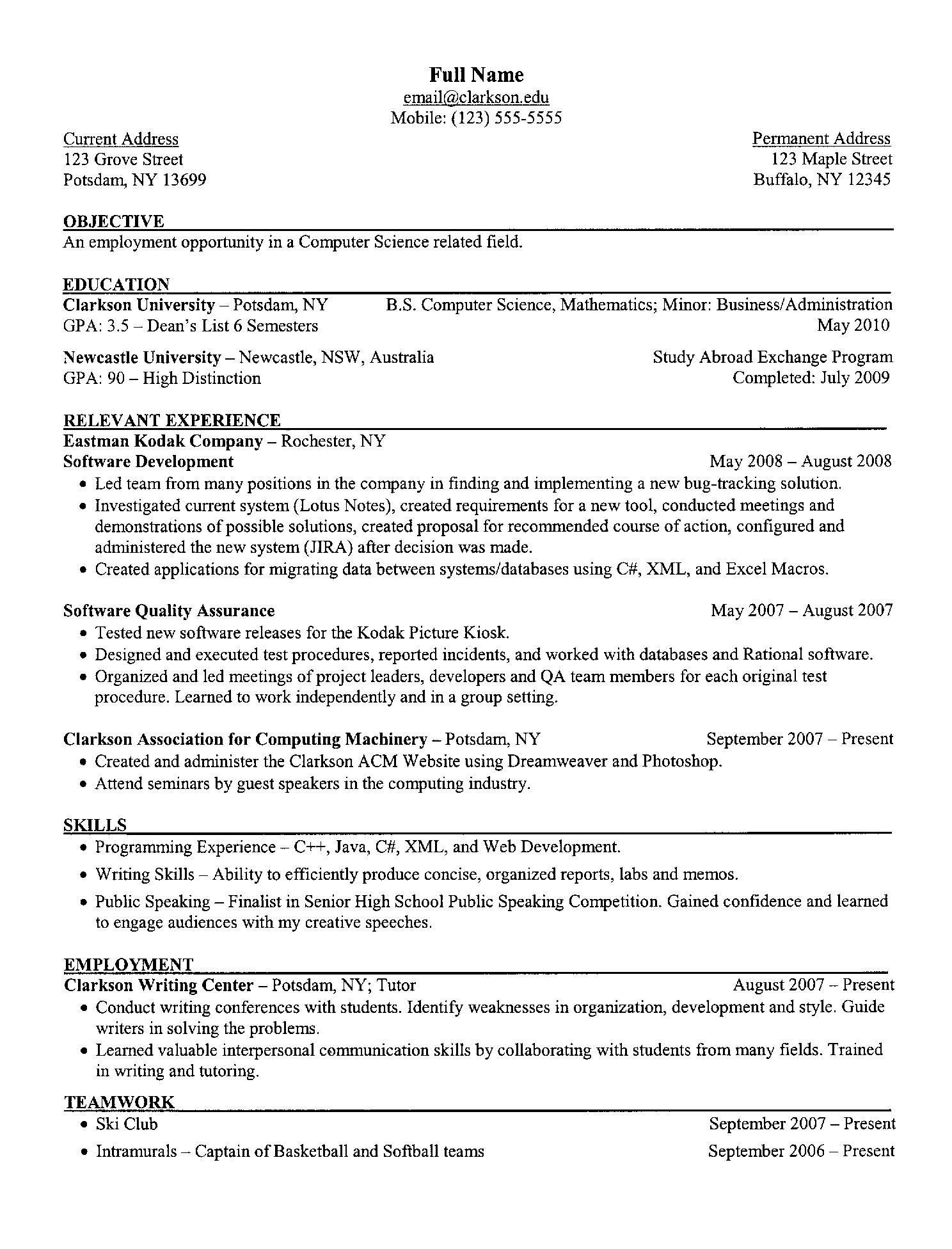 Sample Computer Science Resume Examples A Resume Clarkson University Senior Puter
