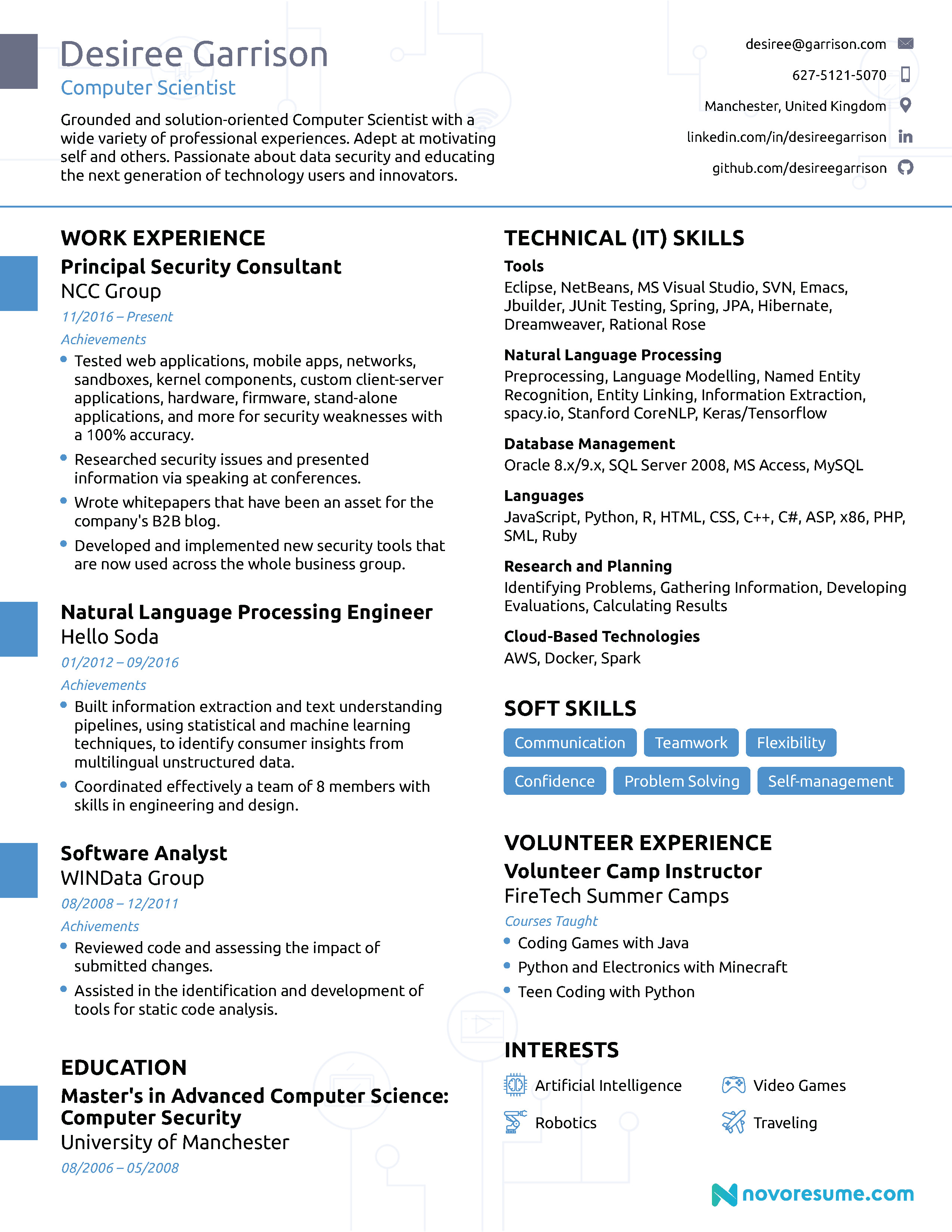 Sample Computer Science Resume Puter Science Resume [2019] Guide & Examples