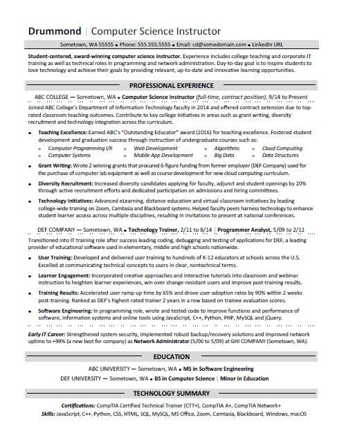 Sample Computer Science Resume Puter Science Resume Sample