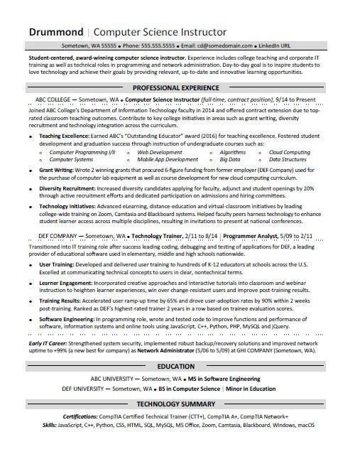 Sample Computer Science Resume Puter Science Resume Sample