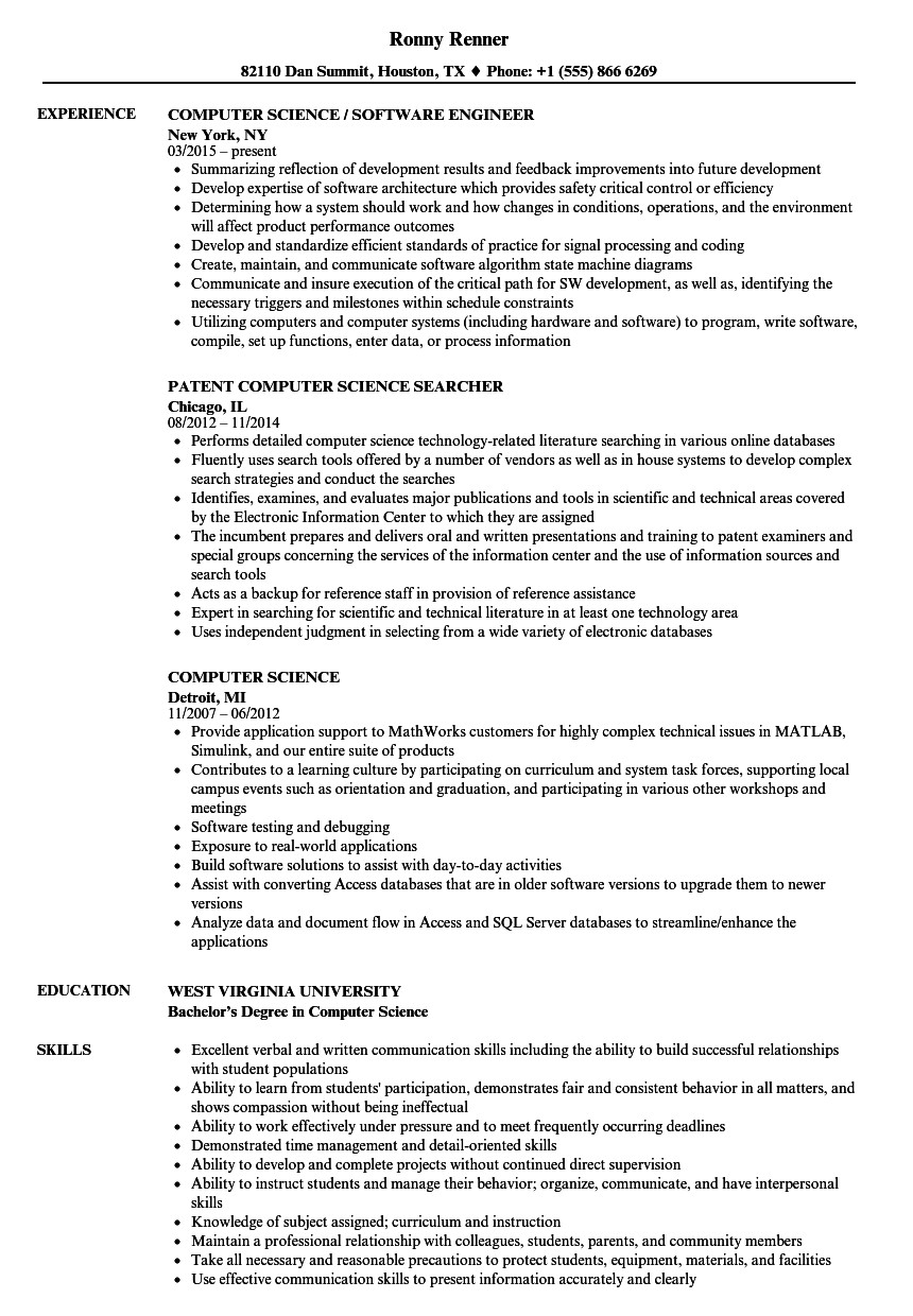 Sample Computer Science Resume Puter Science Resume Samples