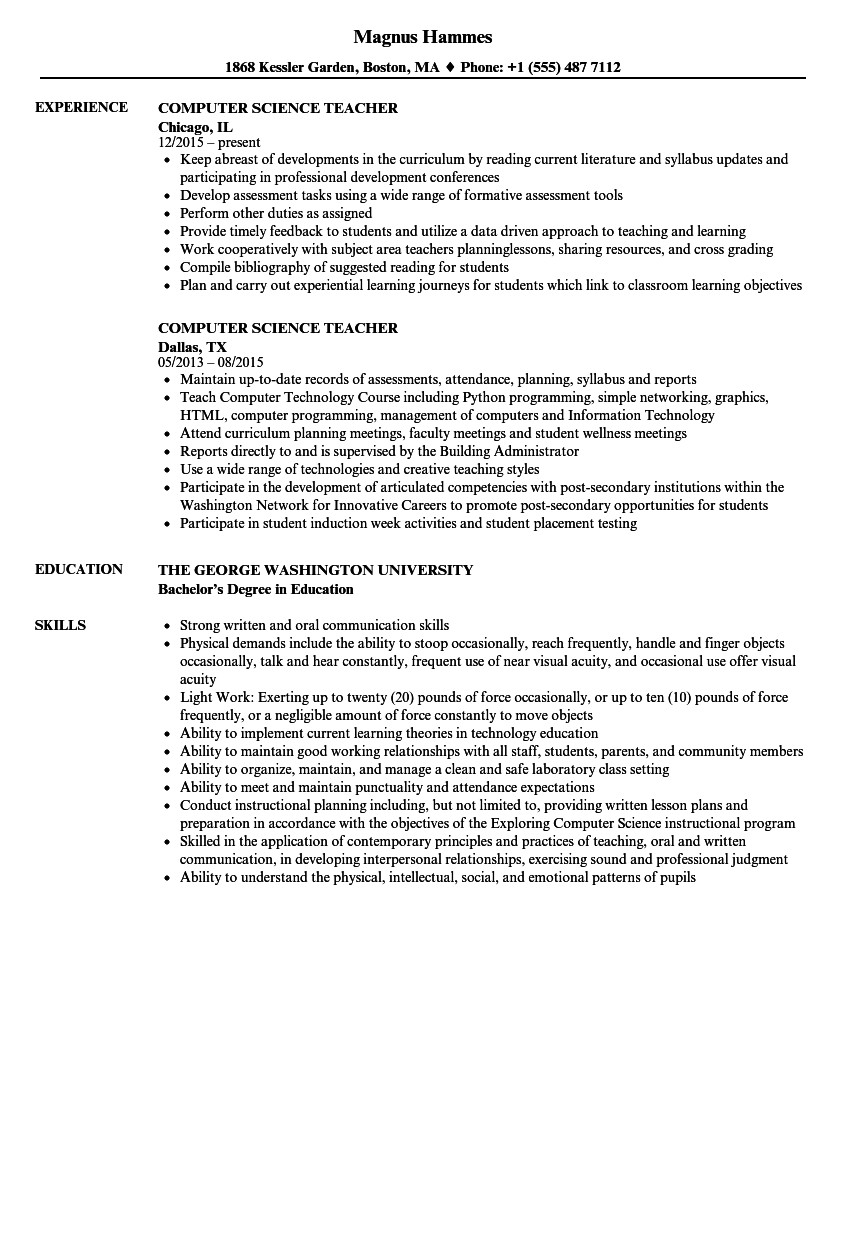 Sample Computer Science Resume Puter Science Teacher Resume Samples