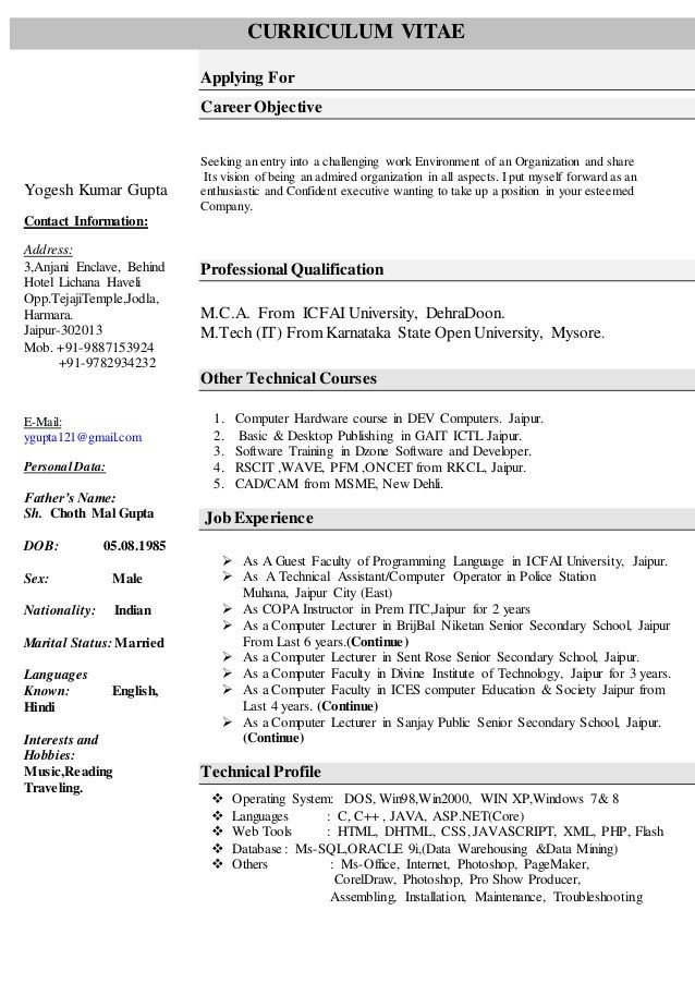 Sample Computer Science Resume Resume for Puter Science Faculty