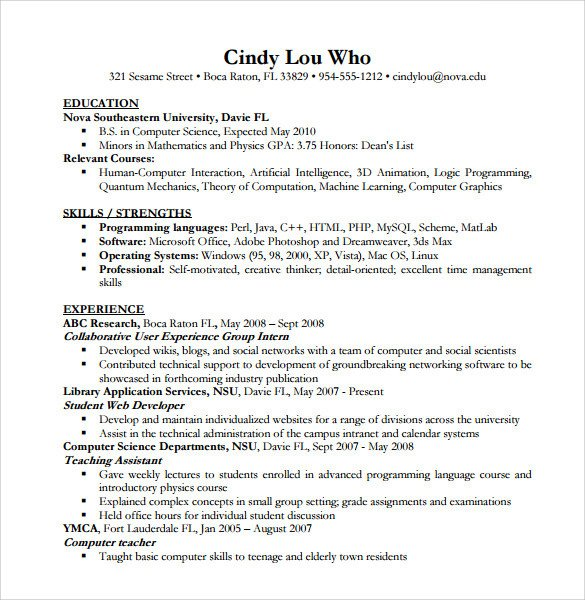 Sample Computer Science Resume Sample Puter Science Resume 11 Download Free