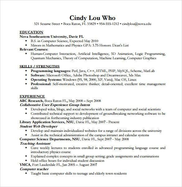 Sample Computer Science Resume Sample Puter Science Resume 11 Download Free