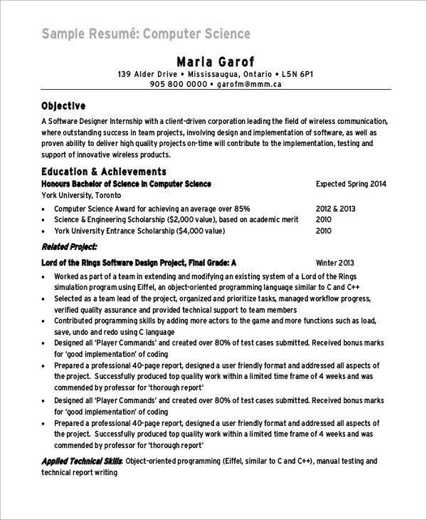 Sample Computer Science Resume Sample Puter Science Resume 8 Examples In Word Pdf