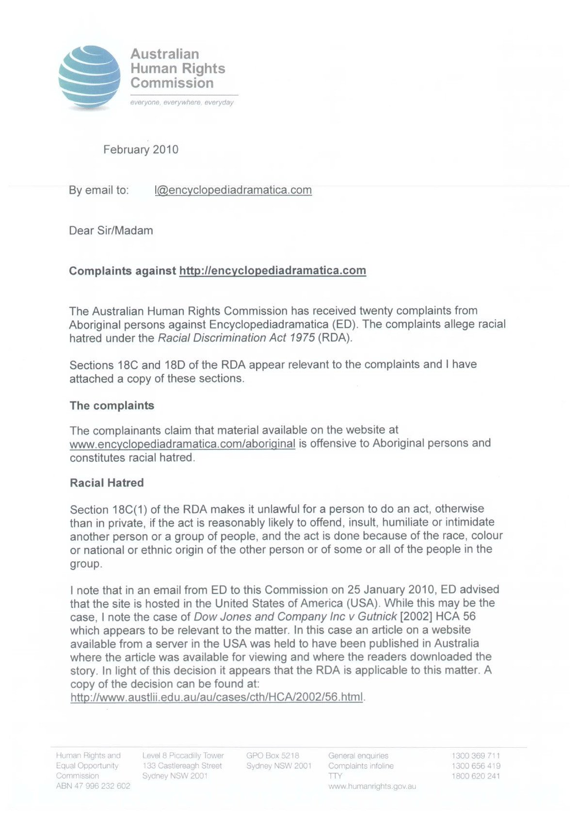 Sample Discrimination Complaint Letter About the Mission Australian Human Rights Mission