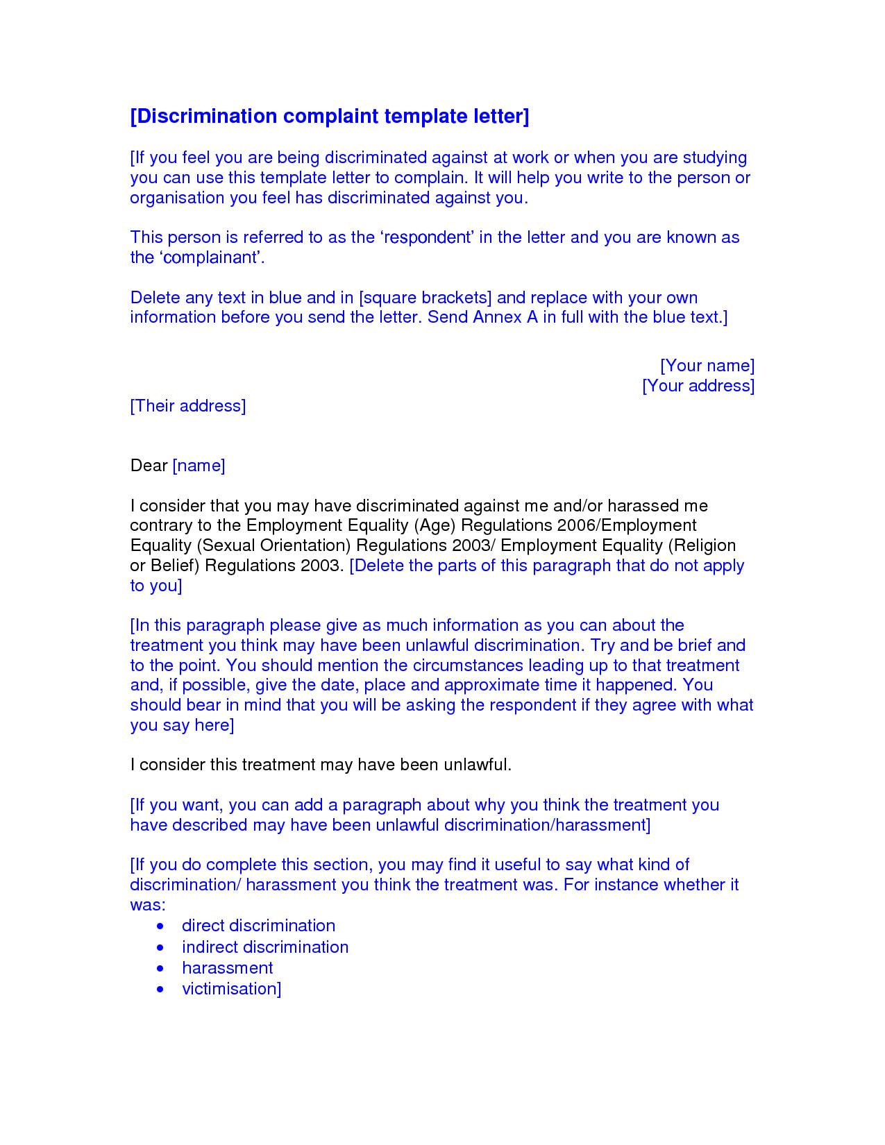 Sample Discrimination Complaint Letter Best S Of formal Letter Plaint Discrimination