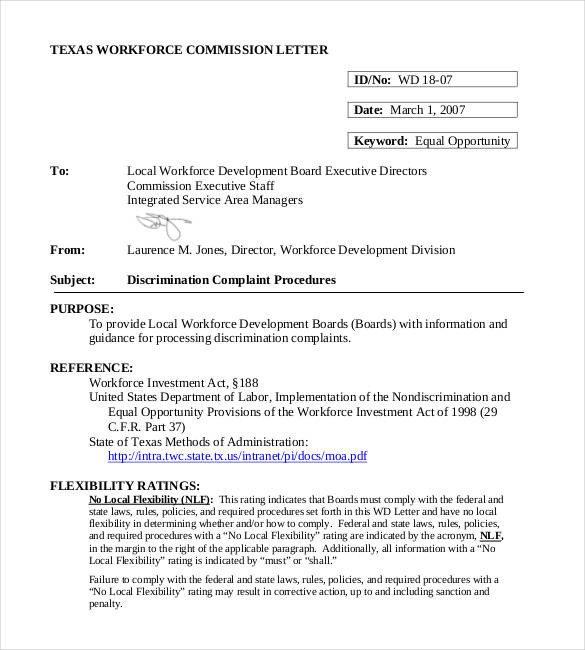 Sample Discrimination Complaint Letter Discrimination Plaint Letters – 10 Free Word Pdf