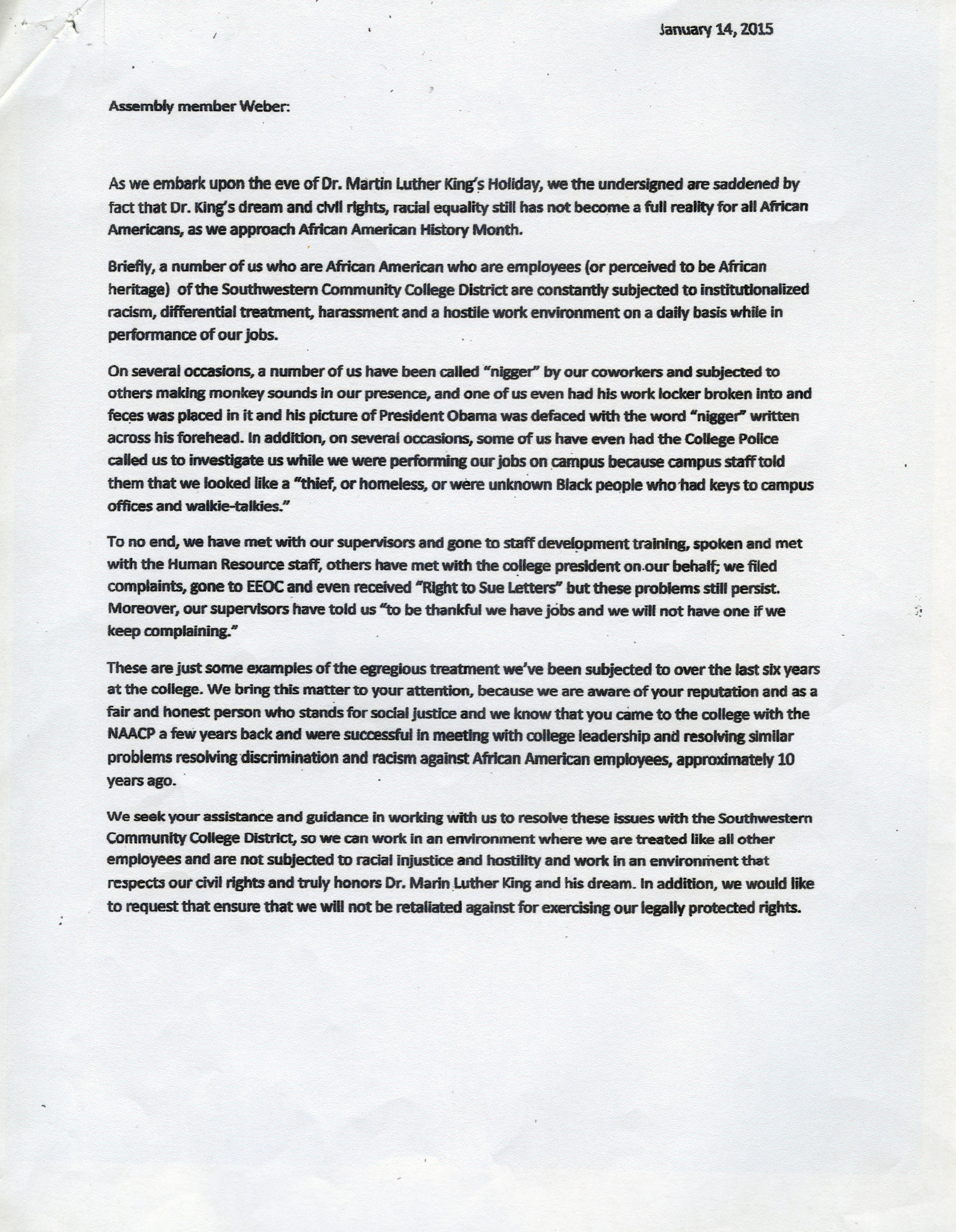 Sample Discrimination Complaint Letter Employees Accuse College Of Racism Discrimination In