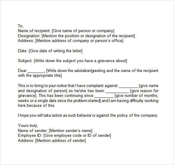 Sample Discrimination Complaint Letter Grievance Letter 11 Download Documents In Pdf Word