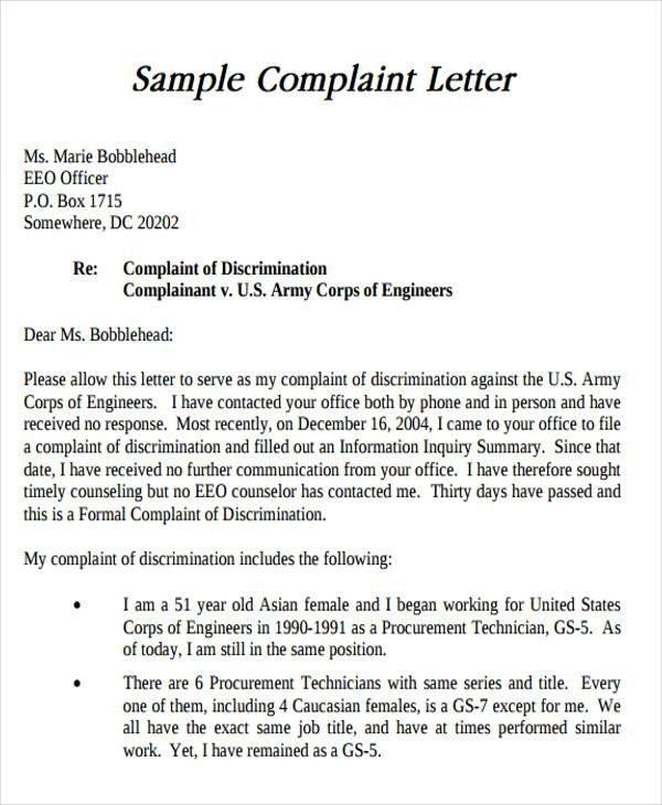 Sample Discrimination Complaint Letter Sample formal Letter format 34 Examples In Pdf Word