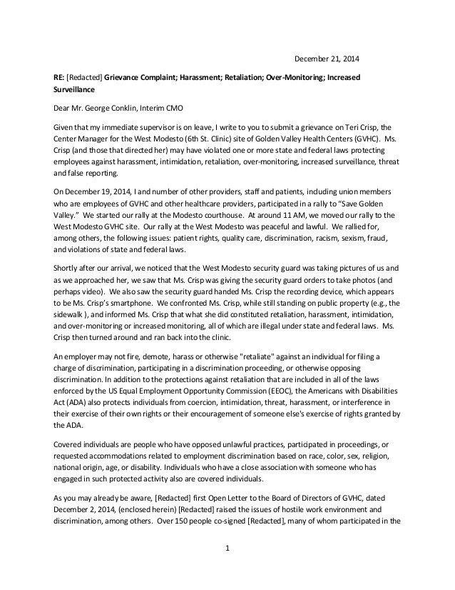 Sample Discrimination Complaint Letter Sample Grievance Letter