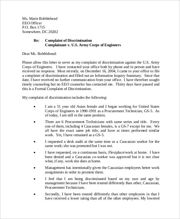 Sample Discrimination Complaint Letter Sample Letter Of Plaint 9 Examples In Word Pdf
