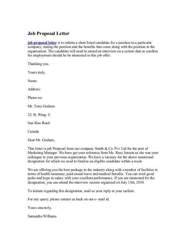Sample Job Proposal Template Job Proposal Letter