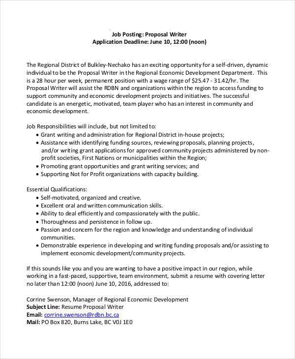 Sample Job Proposal Template Job Proposal Template 24 Free Word Pdf Document