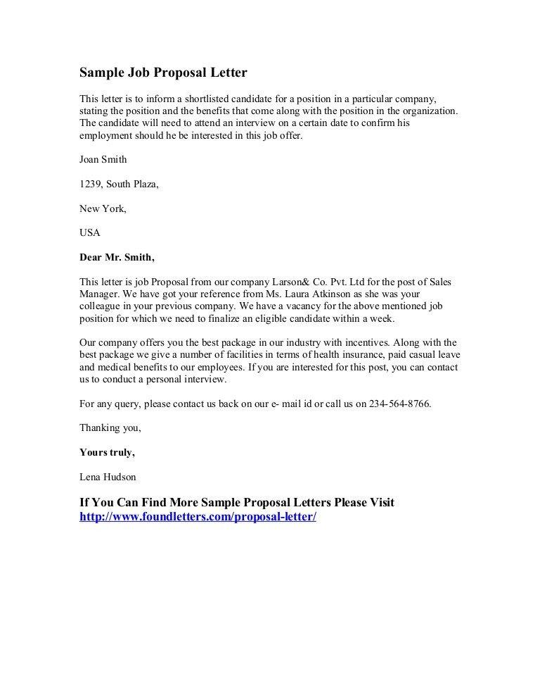 Sample Job Proposal Template Sample Job Proposal Letter