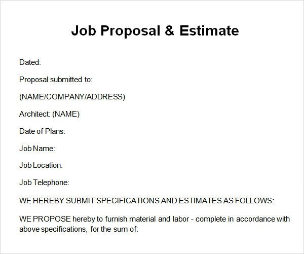 Sample Job Proposal Template Sample Job Proposal Template 12 Free Documents Download