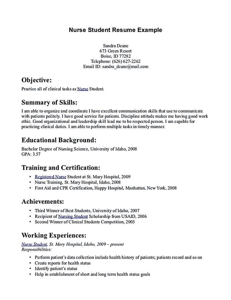 Sample Nursing Student Resume Nursing Student Resume Must Contains Relevant Skills