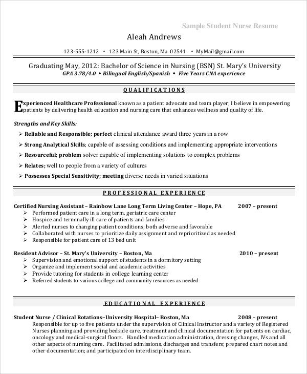 Sample Nursing Student Resume Sample Nursing Student Resume 8 Examples In Word Pdf
