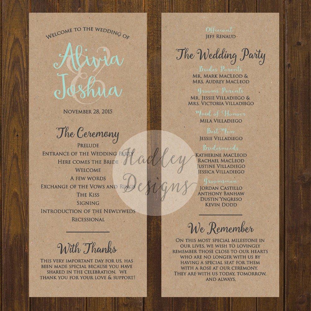 Sample Of Wedding Programme Hadley Designs Programs