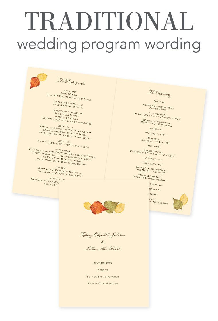 Sample Of Wedding Programme How to Word Your Wedding Programs