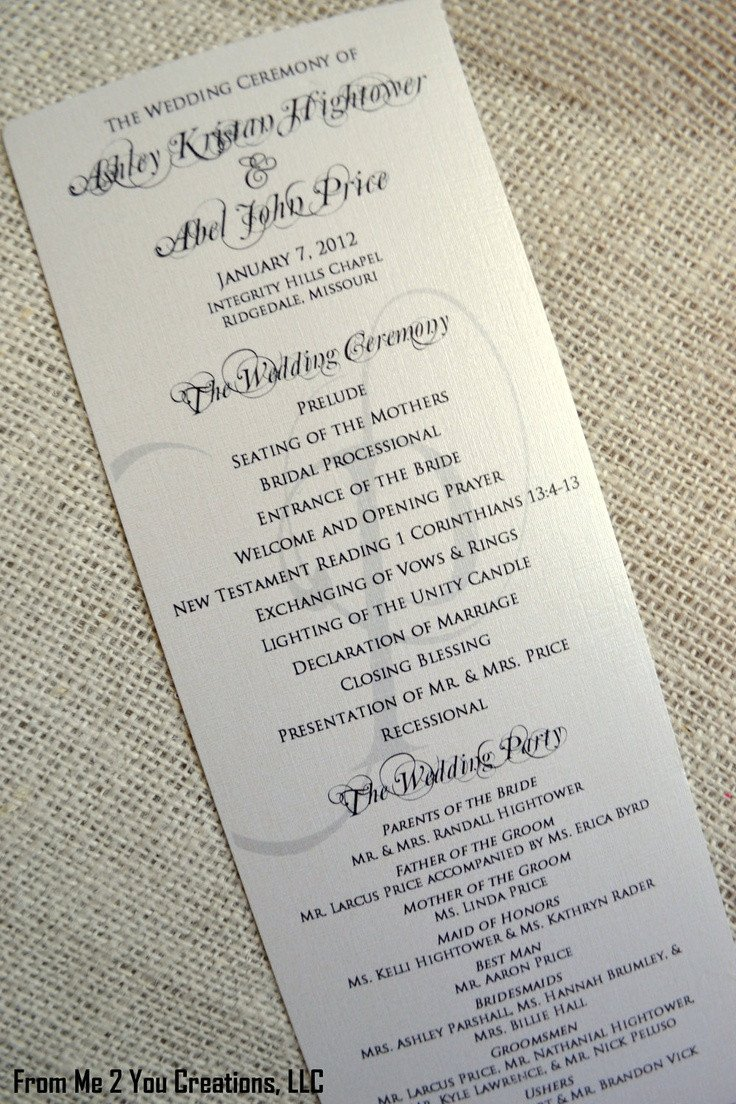 Sample Of Wedding Programme Sample Elegant Wedding Program 4x10 Metallic Ecru Cream