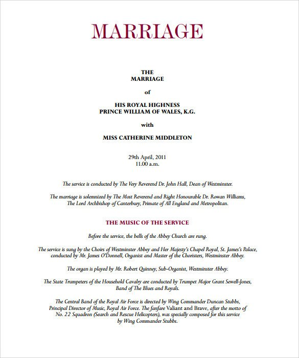 Sample Of Wedding Programme Sample Wedding Program Template 9 Documents In Pdf