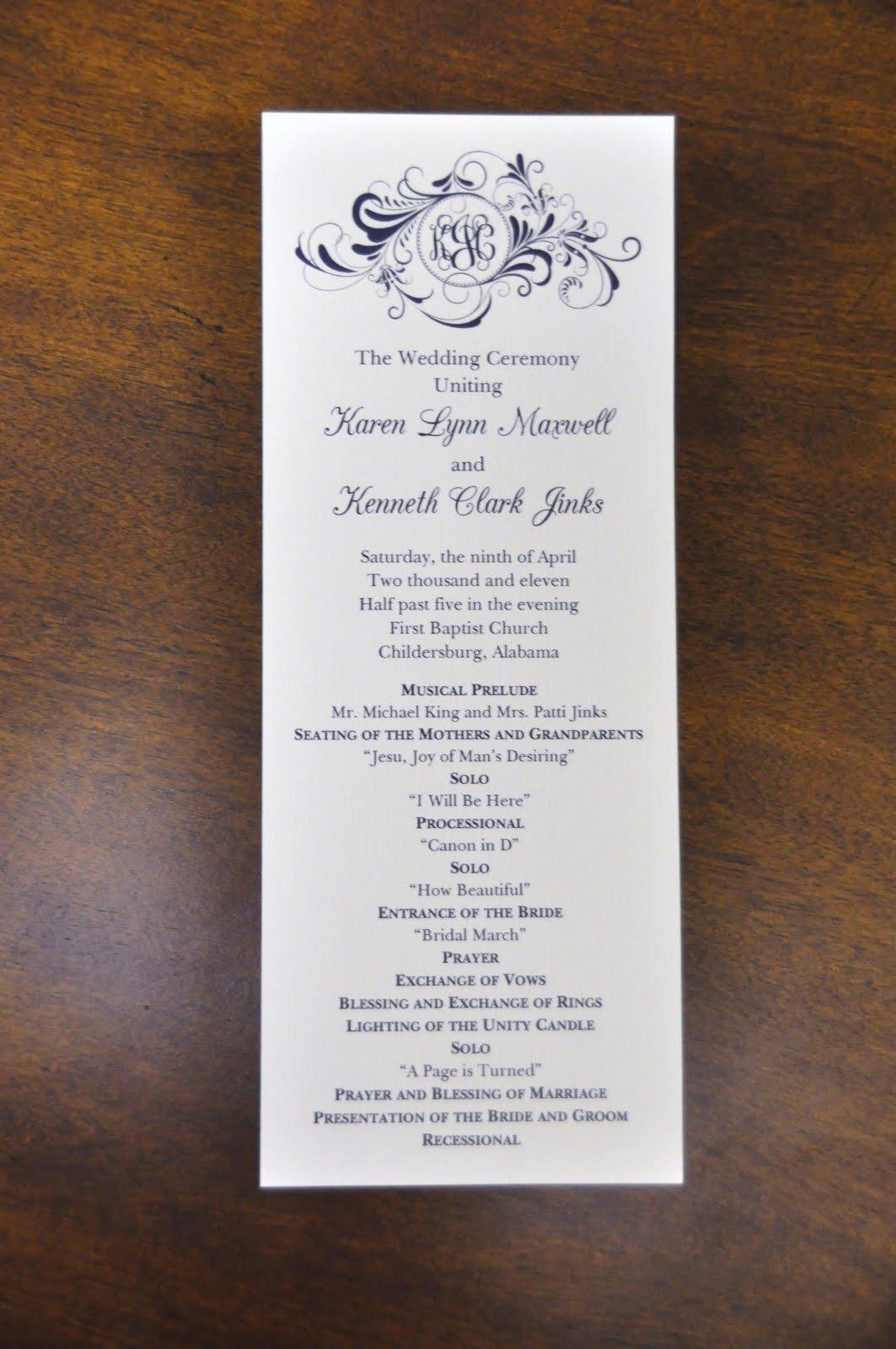 Sample Of Wedding Programme Sample Wedding Programs March 2011