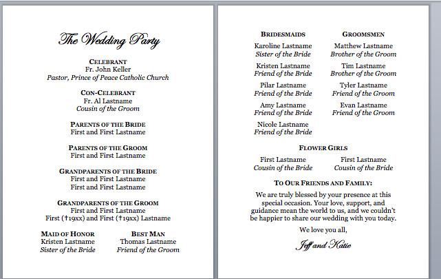 Sample Of Wedding Programme Spirals & Spatulas Catholic Wedding Program