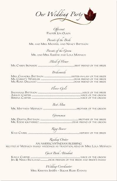 Sample Of Wedding Programme Wedding Ceremony Programs Wording Examples